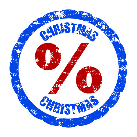 Christmas discount percent rubber stamp isolated. Vector pre-holiday inprint, discount and sell-out illustration