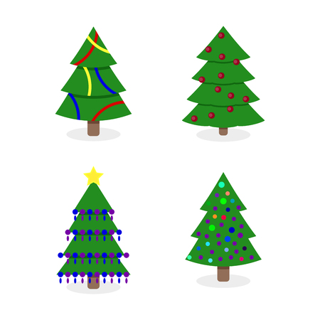 Decorated christmas tree collection illustration. Tree christmas tree decorated to winter holiday xmas, lighted christmas tree, new year tree isolated vector