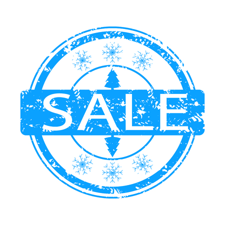Winter sale rubber stamp with snowflake and tree. Vector inprint sale, christmas holiday winter illustration Ilustração