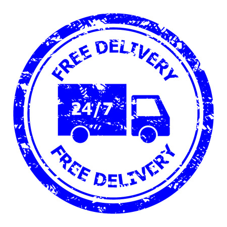 Free delivery rubber stamp for post office. Delivery 24 hours anytime service transportation. Vector illustration