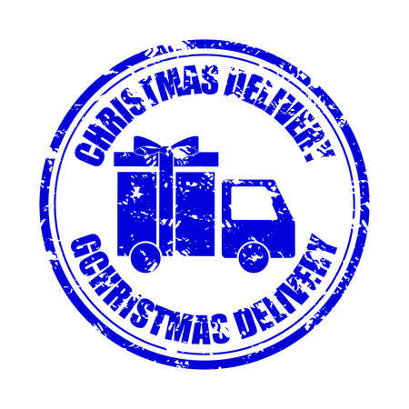 Christmas delivery gift rubber stamp isolated. Vector stamp postmark with lorry car illustration
