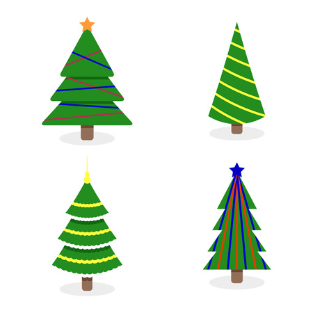 Christmas tree collection with colored garlands. Vector green xmas tree to new year holiday illustration