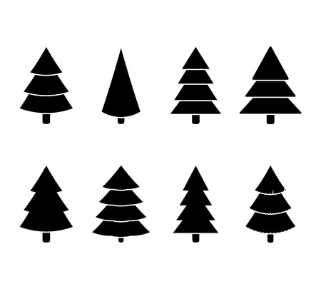Christmas tree black white set illustration vector. Tree christmas to winter holiday in flat design Ilustração