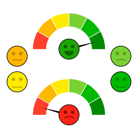 Color indicator arrow with face mood. Credit score good and bad, gauge spectrum indices. Vector illustration