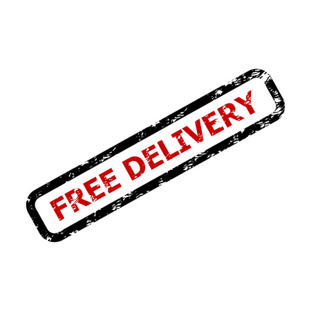 Free delivery text rubber stamp isolated on white. Guarantee free delivery for business, guarantee transportation. Vector illustration