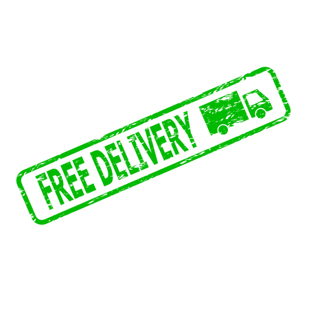 Green rubber stamp free delivery cargo. Free shipping goods and purchase. Vector illustration