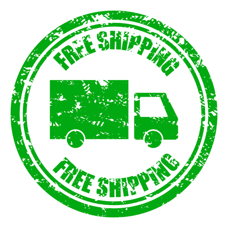 Timbro di gomma di garanzia di spedizione gratuita con camion. Timbro di consegna di gomma grunge per servizio di trasloco aziendale. Illustrazione vettoriale