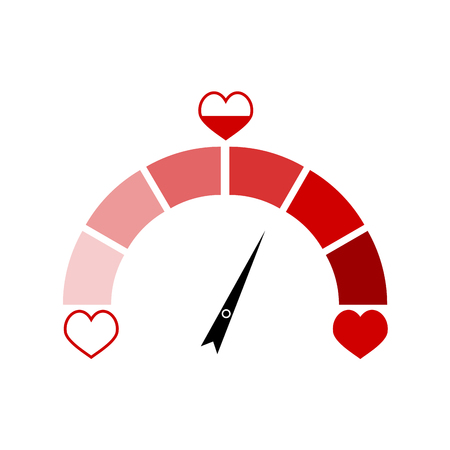 Love indicator with red heart isolated on white. Vector indicator symbol, love level indicate illustration