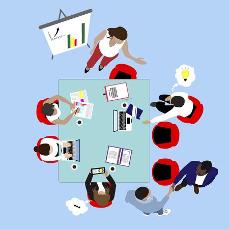 Lavoro di squadra e incontro di lavoro. Presentazione e brainstorming vettore vista dall'alto. Lavoro di squadra in ufficio, illustrazione piatta di collaborazione. Conferenza in sala riunioni, conferenza di lavoro, vista dall'alto dell'ufficio vettore
