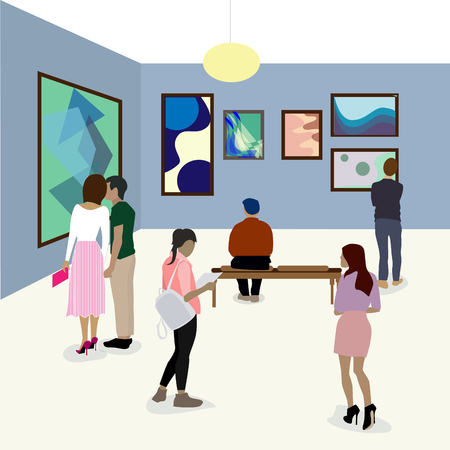 Visit gallery, woman looking at modern painting, art gallery wall, art exhibition event. Vector museum gallery, art abstract exposition illustration