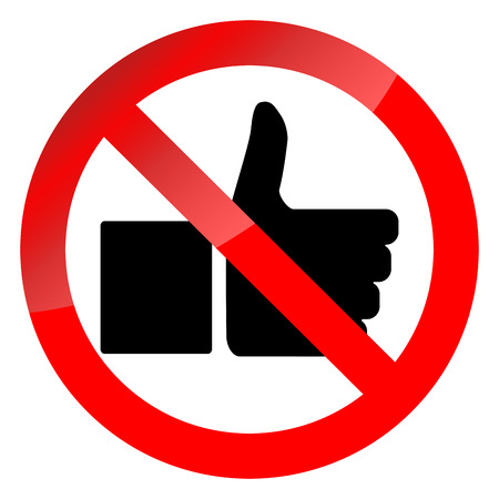 Prohibition of social networking symbol. Ban like thumb up, bad habit and behavior. Prohibition and forbidden warning, no thumb up, vector illustration