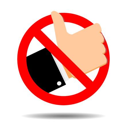 No like symbol, ban addiction social media. Vector social like communication prohibit, banned and forbidden, dislike illustration