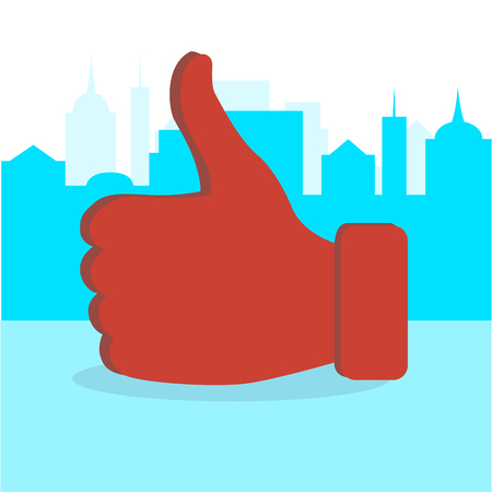 Like thumb up in city. Addiction like button, message worldwide for chatting, vector illustration