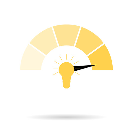 Indicator of creativity new ideas bright and dim. Idea creative interface indicator. Vector illustration