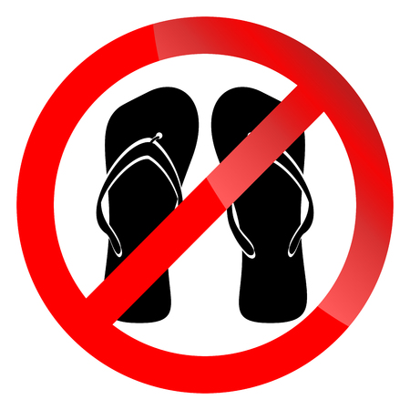 Banner ban symbol with crossed flip flops. Ban open shoes. No enter in shoes into mosque. Ban shoes in swiming pool. Unshoe icon vector illustration Vetores