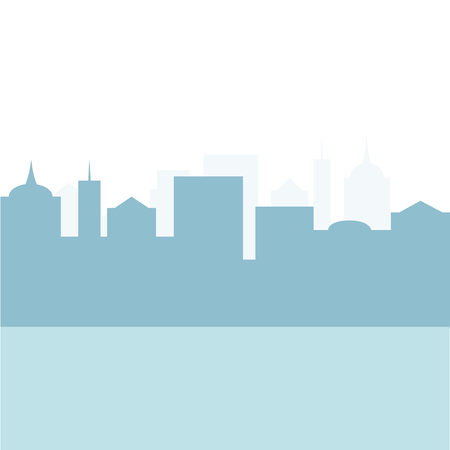 Business landscape view silhouette skyscraper with with area place for text. City building vector view, cityscape architecture illustration,, business skyscraper skyline