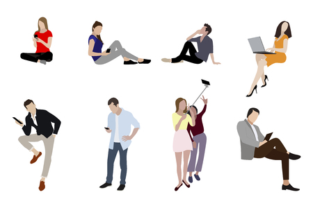 People man and woman with gadgets smartphones. Teenager and business woman or man with smartphone, laptop and other devices. Vector illustration Ilustrace
