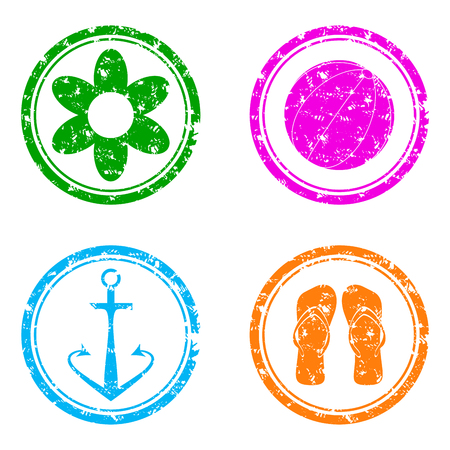 Summer rubber stamp symbol flower and flip-flops. Conceptual summer icons. Vector illustration 矢量图像