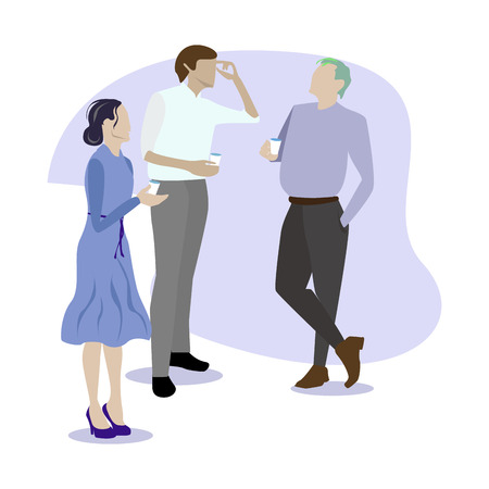 People colleague gossip and speaking. Coffee break. Vector coffee break team, illustration coffee business break Ilustracja