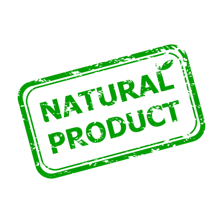 Natural product rubber stamp. Vector healthy product stamp, natural product sticker illustration