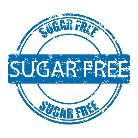 Sugar free rubber stamp for sugarless product. Sweets sugar free for diabetes, vector illustration