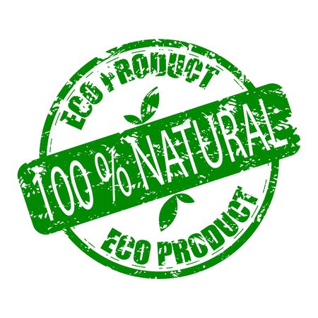 Eco product, natural rubber stamp. Vector eco product stamp for natural organic product, illustration of scratched grunge watermark
