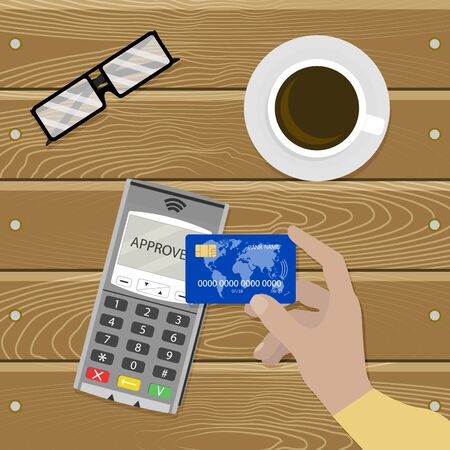 Payment nfc contactless, cashless transaction vector. Pay use credit card rfid, illustration banking electronic terminal, pos device for payment acceptance