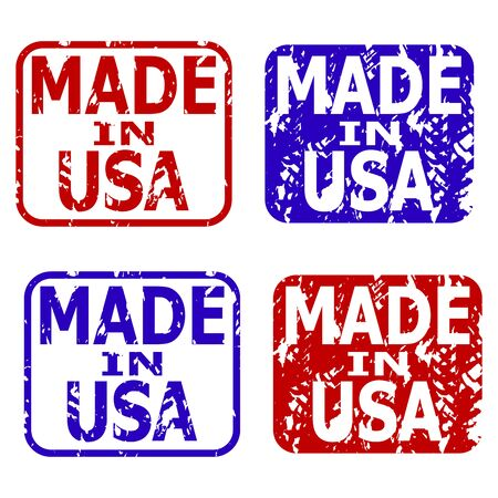 Made in usa rubber stamps collection. Vector seals made in america, illustration rubber stamp grunge texture Ilustração