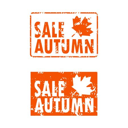 Seal rubber stamp autumn sale set orange color. Vector promotion set sell-out seal for fashion store, autumnal advertising shopping rubber stamp illustration