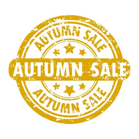 Sale seasonal autumn rubber stamp sketch. Vector seal promo autumn sale fall, banner promotion texture rubber stamp illustration. Autumnal shopping advertising, seasonal discount stamp