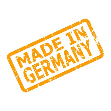 Made in germany rubber stamp for place of manufacture. Product made in germany, badge certificate guarantee, stamp emblem german, germany warranty manufacturing, vector illustration