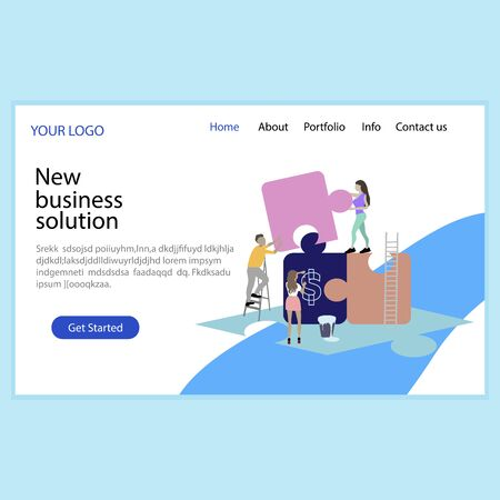 New business solution, solve problem, business service landing page. Business solution web page, website project, vector illustration. Development innovation, homepage landing page