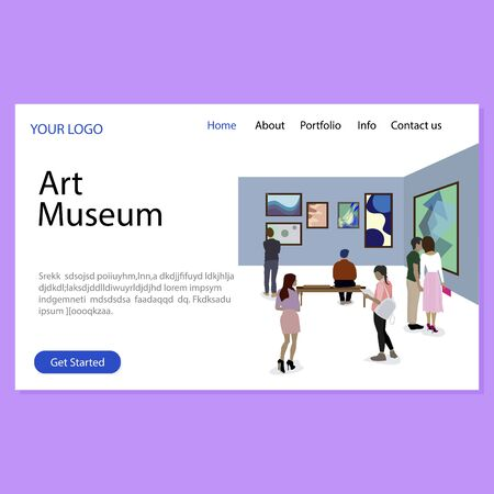 Art museum landing page, gallery exhibition homepage. Vector museum exhibition page, art gallery website illustration