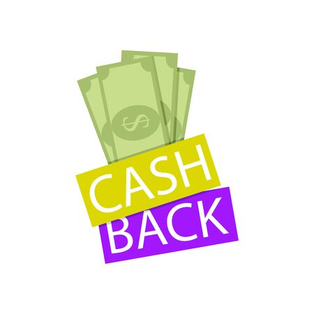 Emblem cashback service. Money back, reward for follow link vector. Cash back for shopping, big procents and profitly service for consumer illustration Ilustração