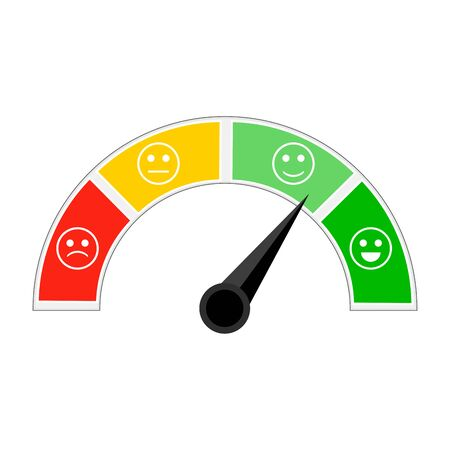 Indicator of credit afford, indicating level trust. Credit score for get loan and mortgage. Colorful metering with different smiles sad and happy. Vector illustration Illustration