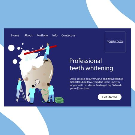 Teeth whitening and stomatology clinic website page. Professional team dentists do whitening. Clean teech, wash and recovery . Vector illustration Ilustração
