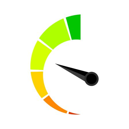 Vertical colored speedometer or barometer indicator. Illustration indicator for credit solvency vector