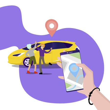 Car sharing and rent auto service. Vector car service transportation, auto rent transport, carsharing illustration company Ilustração