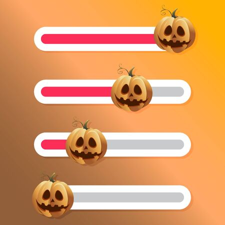 Halloween pumpkin, slider button for social story. Vector interface poll and comment to photo in network illustration