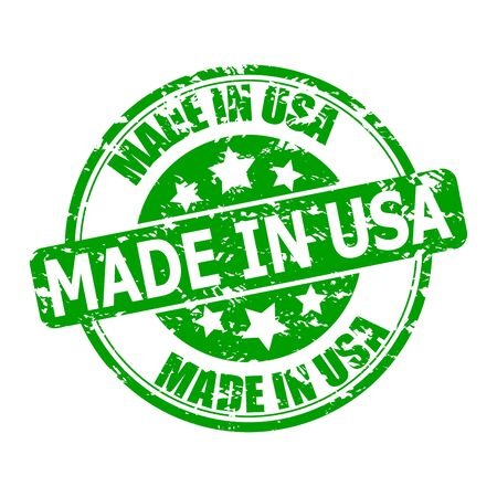 Marks texture made in USA. Seal for post to parcel or clothes. Green print made in america with stars. Vector illustration