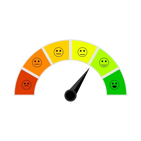 Credit score indicator with colorful segments. Vector meter rating indicator, arrow point to excellent, indication credit report illustration