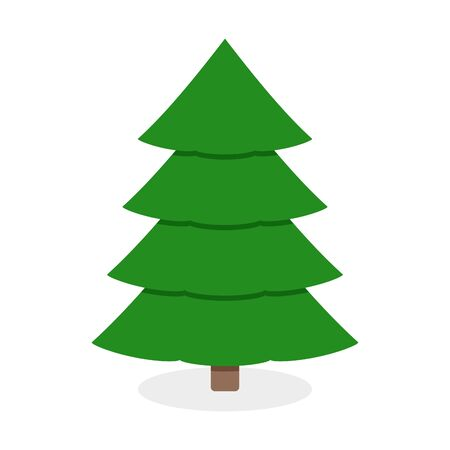 Christmas green tree isolated on white background. Symbol vector celebration traditional Xmas and New Year, pine evergreen christmas minimalistic style illustration