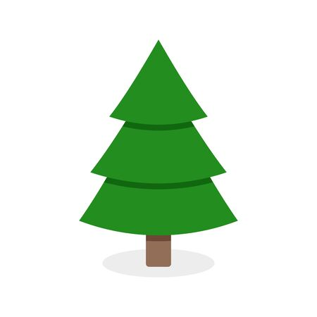 Flat christmas tree isolated on white. Symbol of winter holiday xmas and new year, St Nicholas. Green tree vector illustration