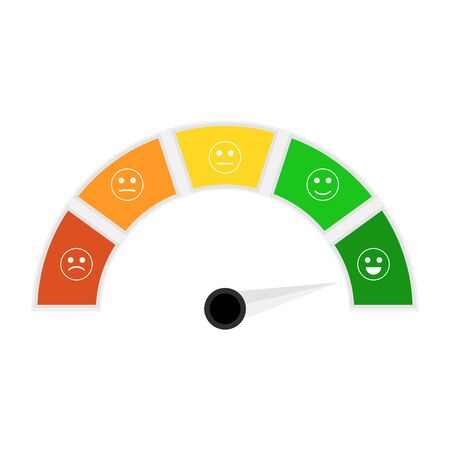 Information credit score indicator for credit history. Vector rating indicator, loan dashboard, mortgage metering financial illustration