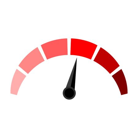 Il rosso indica il punteggio di credito, alto e basso. Misuratore di credito ad alto punteggio di valutazione, misurazione dell'indicatore. Illustrazione vettoriale