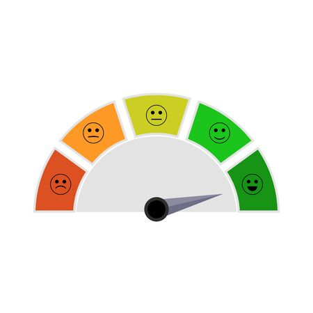 Indicator with smile for get mortgage in bank. Illustration finance indication report, high level, dashboard scoreboard and credit score excellent vector Ilustração
