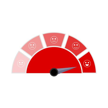 Red indicator user interface with smile face. Vector score level, excellent scoreboard, mortgage interface rate illustration Ilustração