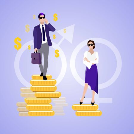 Wage woman and man, gender discrimination salary. Unfair wage for women and men, vector financial discrimination illustration