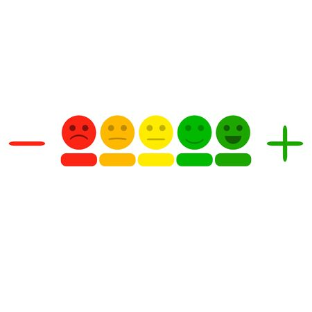 Plus and minus indicator with colored smileys. Illustration rating level measurement, smile measure scale, indicator meter chart vector