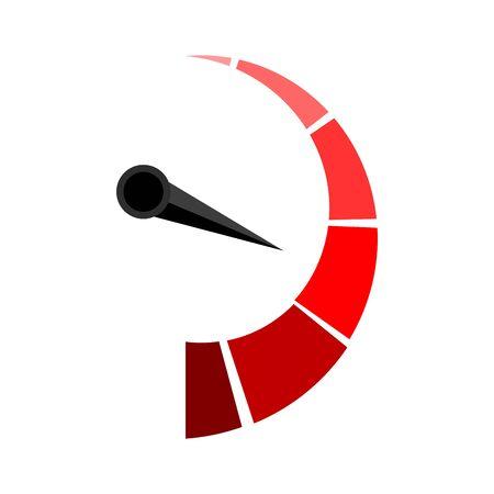 Indicador rojo vertical con puntero de flecha. Adelgazamiento y engrosamiento, tablero de medición, indicador de calificación de flecha. Ilustración vectorial